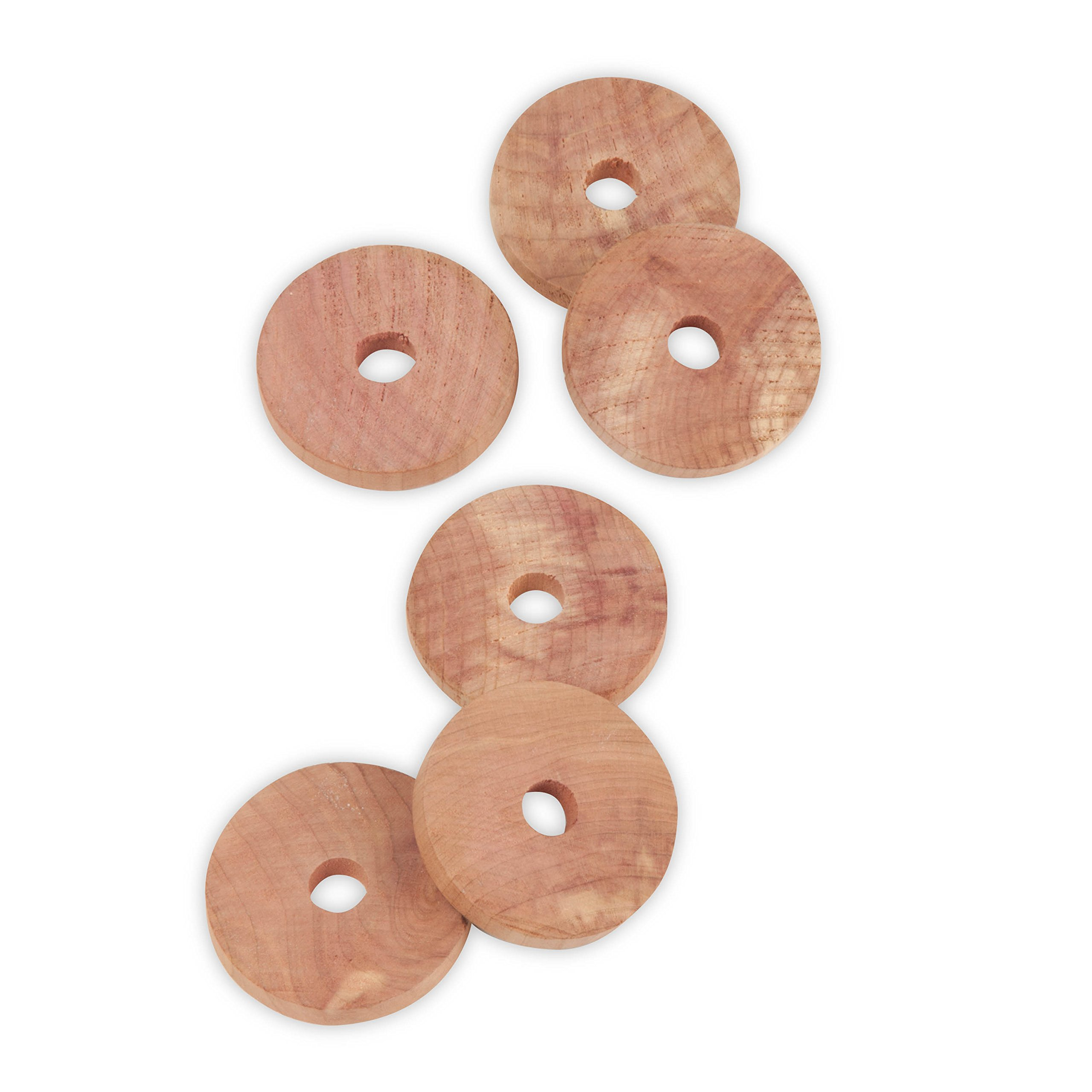 Honey-Can-Do 6-Pack Cedar Hanger Rings for Garments and Closets, Natural Red
