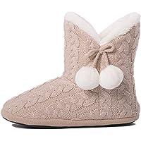 AIREE FAIREE Chausson Pantoufles Femmes fourure doublée Pompons