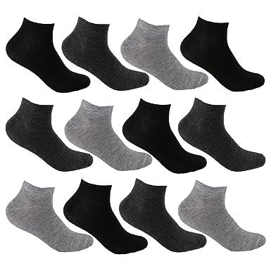 zarte Farben klassisch professionelle Website L&K-II 12/24 Paar Sneaker Socken Damen/Herren Kurzsocken Füßlinge  atmungsaktive Baumwolle in Schwarz Weiß und Grau 92201VA