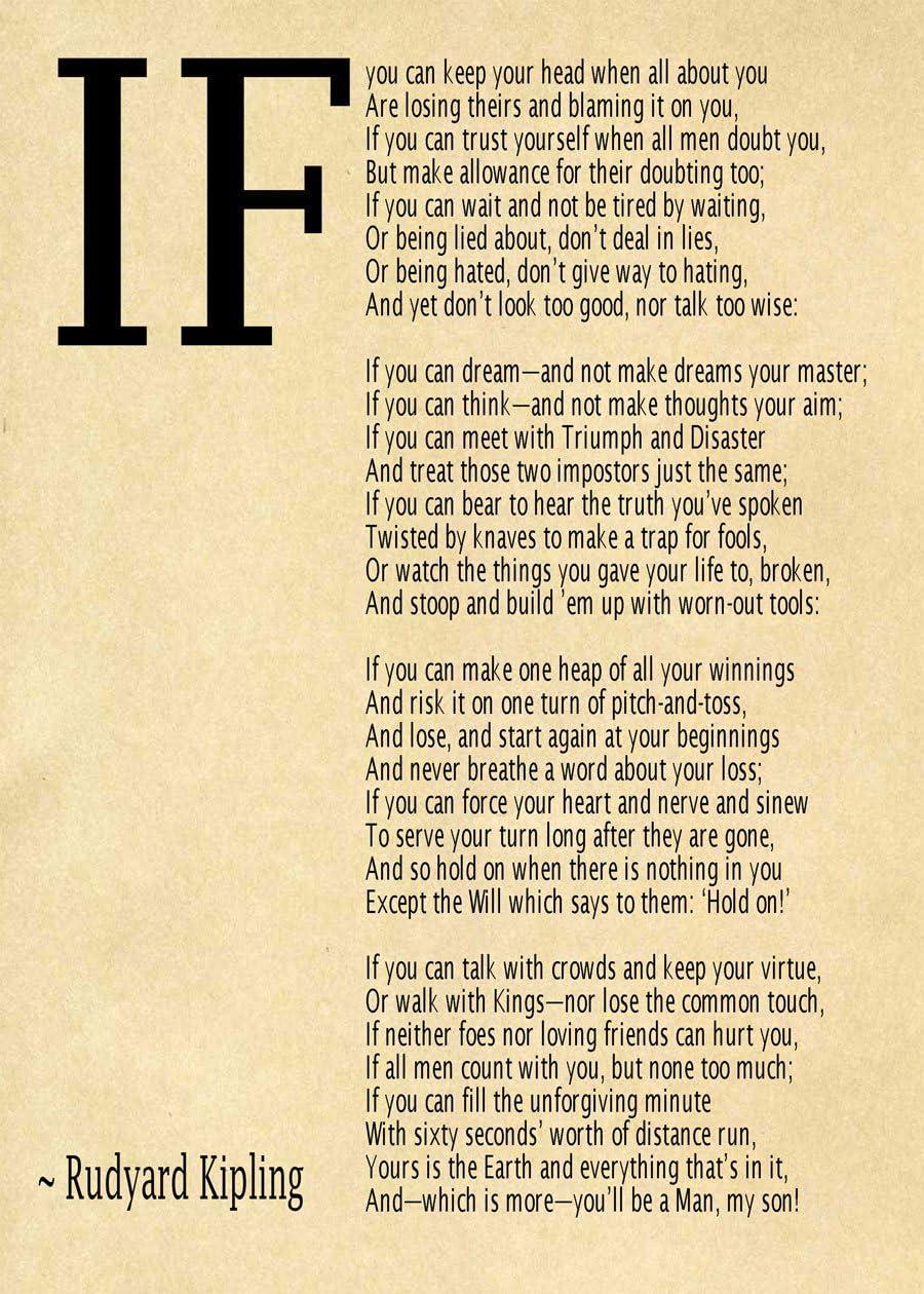 Conciencia norte horario  Amazon.com: IF Poem Art Print IF Poem by Rudyard Kipling Art Print IF  Poster If Poem Poster If Poem Print If Poem Wall Art If You can If by Kipling  Poem (16