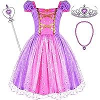 Tacobear Rapunzel verkleedjurk voor meisjes prinses Rapunzel kostuum jurk met prinses ketting toverstaf kroon prinses…