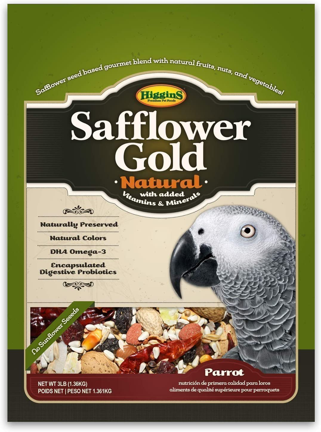 Higgins Safflower Gold Natural Food Mix for Parrots, Cockatoos, Amazons & Macaws. Parrot food, Large Bird Food 3 lb Bag (Fast Delivery) by Just Jak's Pet Market