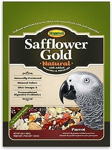 Higgins Safflower Gold Natural Food Mix for Parrots, Cockatoos, Amazons & Macaws. Parrot food, Large Bird Food 3 lb Bag (Fast Delivery) by Just Jak's Pet Market
