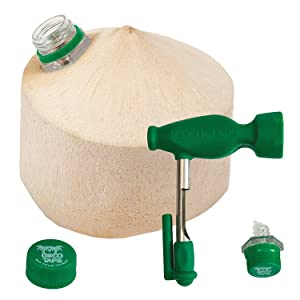 CocoTaps Coconut Tapper Easy Opening Tool + World's First Ever Sealing Taps (Keeps Coconut Water Fresh For Weeks)