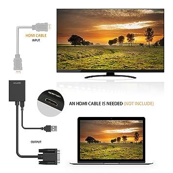 APEMAN Conversor de VGA a HDMI (1080P), Adaptador con Cable de Audio de 3,5 mm y de Corriente USB, Aplicado a HDTV, Monitor,PC, Ordenador, Proyector, ...