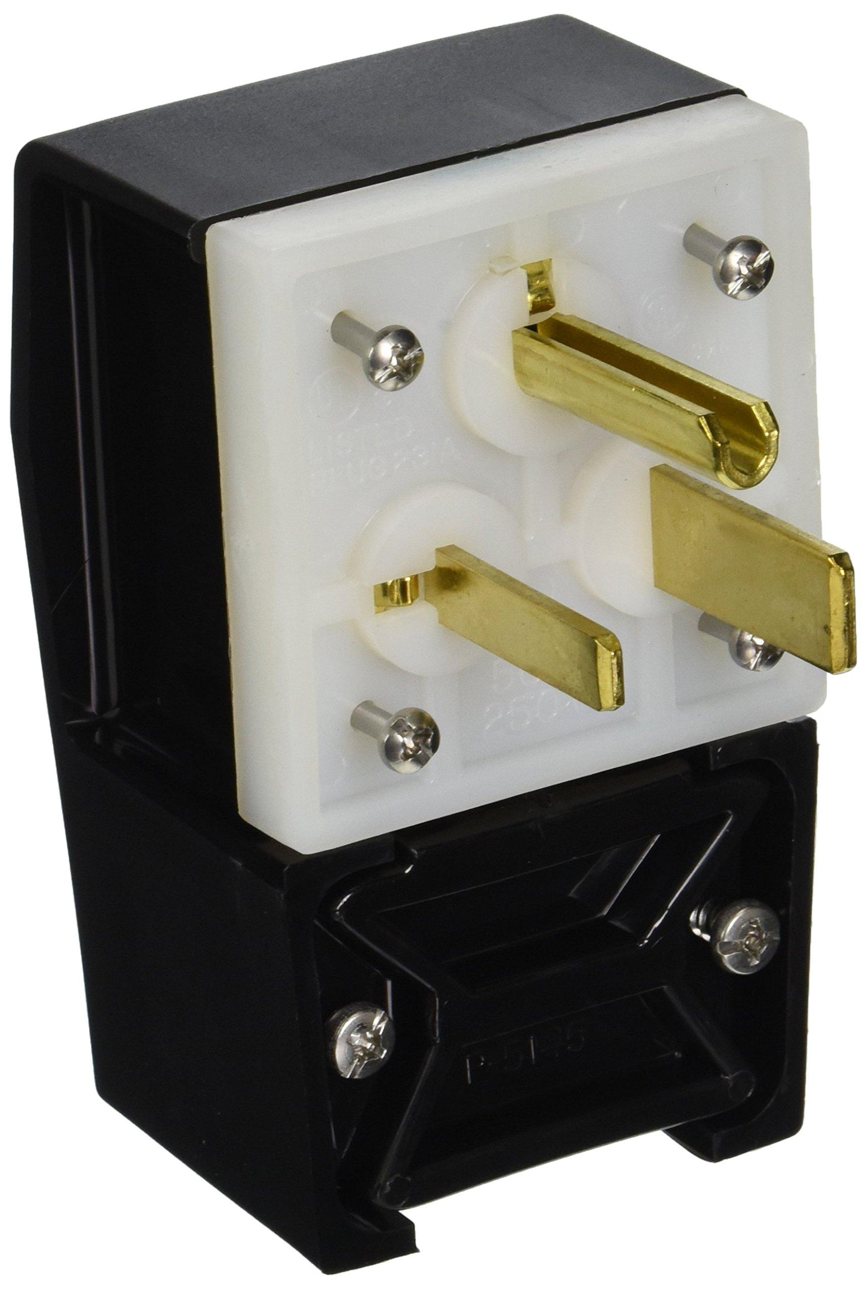 Hubbell HBL9368 Plug, Angle, 2 Pole, 3 Wire, 50 amp, 250V, 6-50P, Black