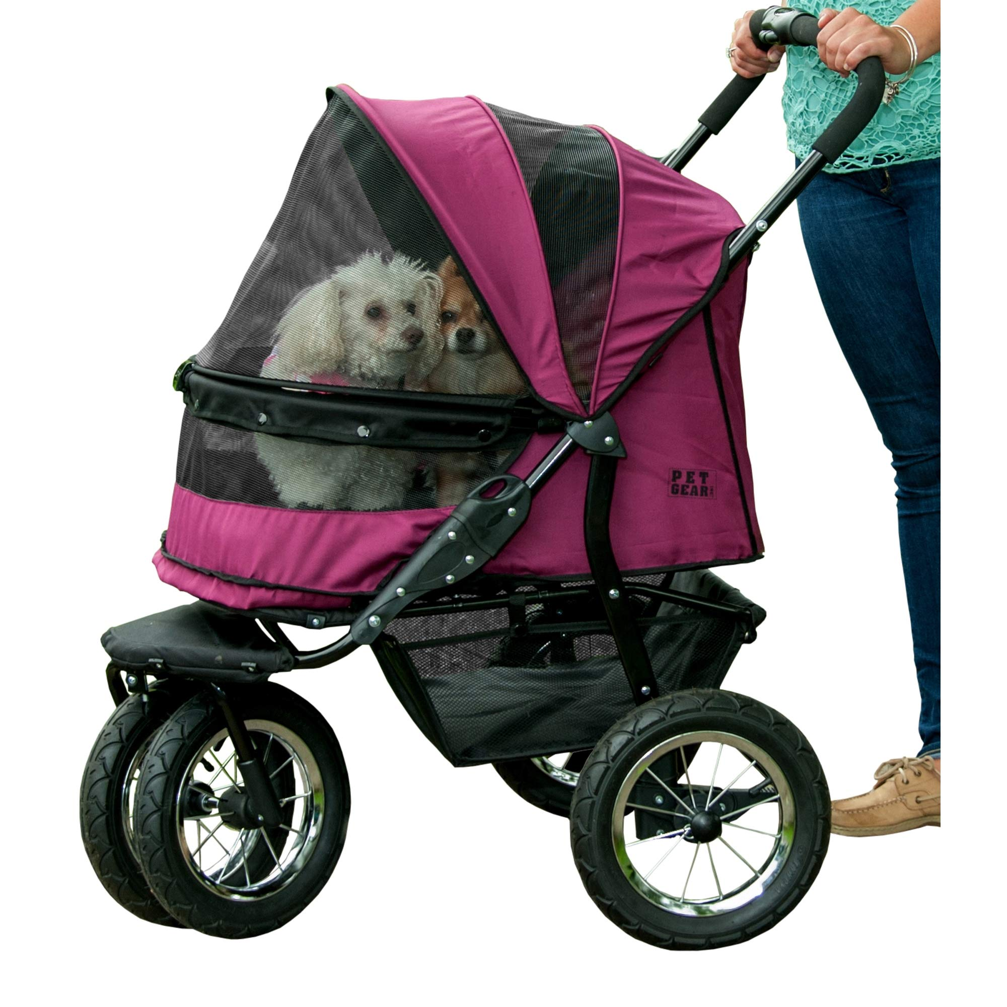 Pet Gear NO-ZIP Double Pet Stroller, Zipperless Entry, for Single or Multiple Dogs/Cats, Plush Pad + Weather Cover Included, Large Air Tires, Boysenberry by Pet Gear