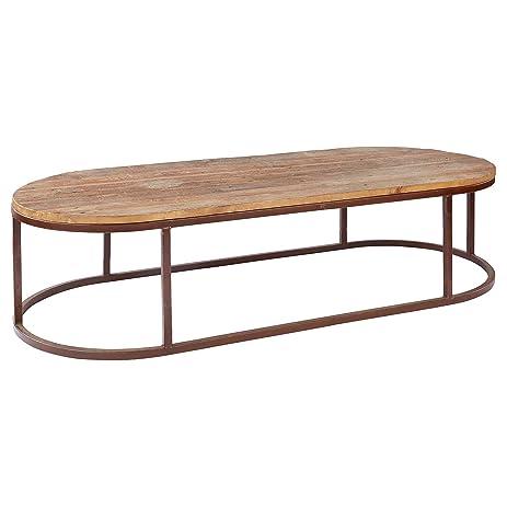 Tilton Rustic Lodge Reclaimed Wood Iron Oval Coffee Table