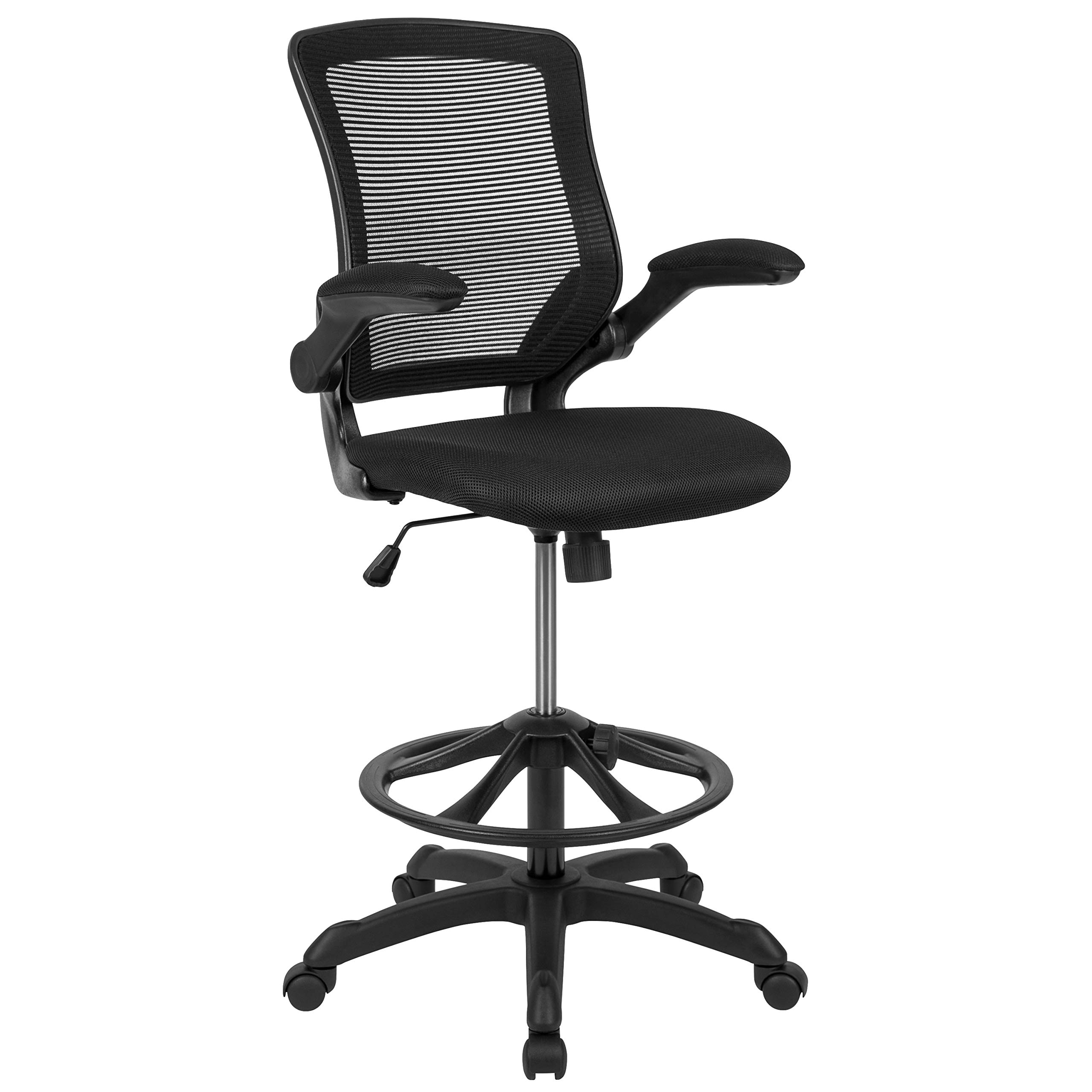 Flash Furniture Mid-Back Black Mesh Ergonomic Drafting Chair with Adjustable Foot Ring and Flip-Up Arms - by Flash Furniture