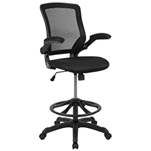 Flash Furniture Mid-Back Black Mesh Ergonomic Drafting Chair with Adjustable Foot Ring and Flip-Up Arms -