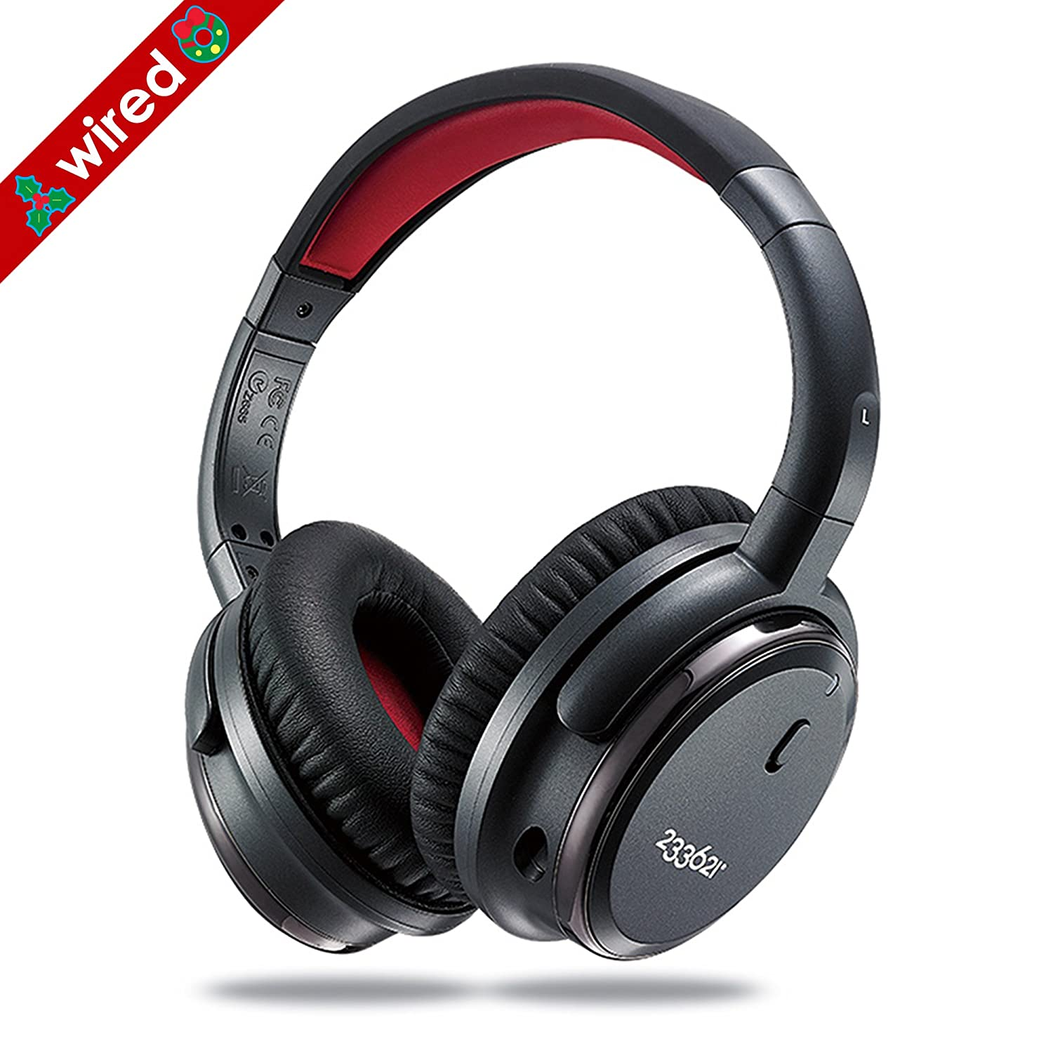 H501 Active Noise Cancelling Over Ear Stereo Music Headphones, Features with Inline Microphone and Volume Control, 50-hours Battery Time, Detachable Audio Cable and Carrying Case (Wired) 233621