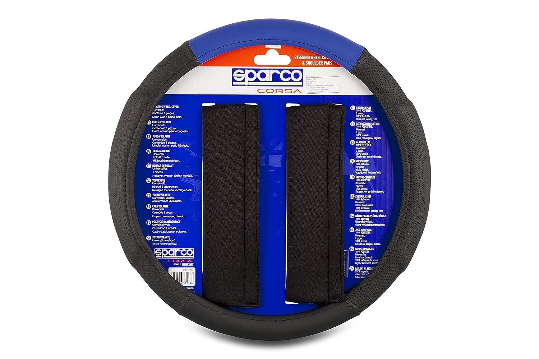 Sparco SPC1111KAZ Almohadillas y Funda de Volante, Negro/Azul