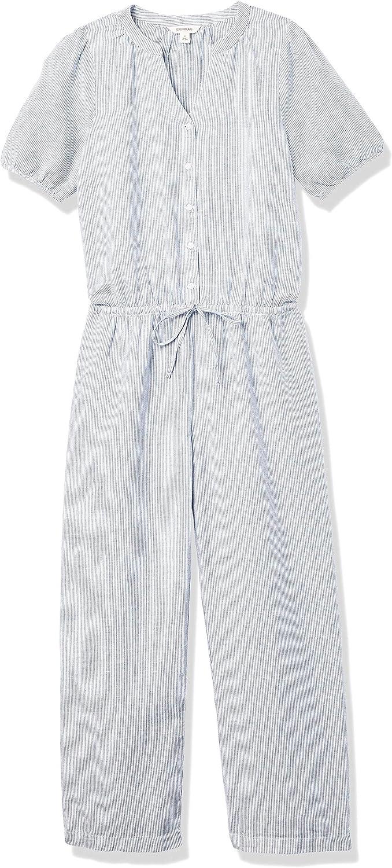 Marke Goodthreads Damen jumpsuits-apparel Washed Linen Blend Button Front Jumpsuit