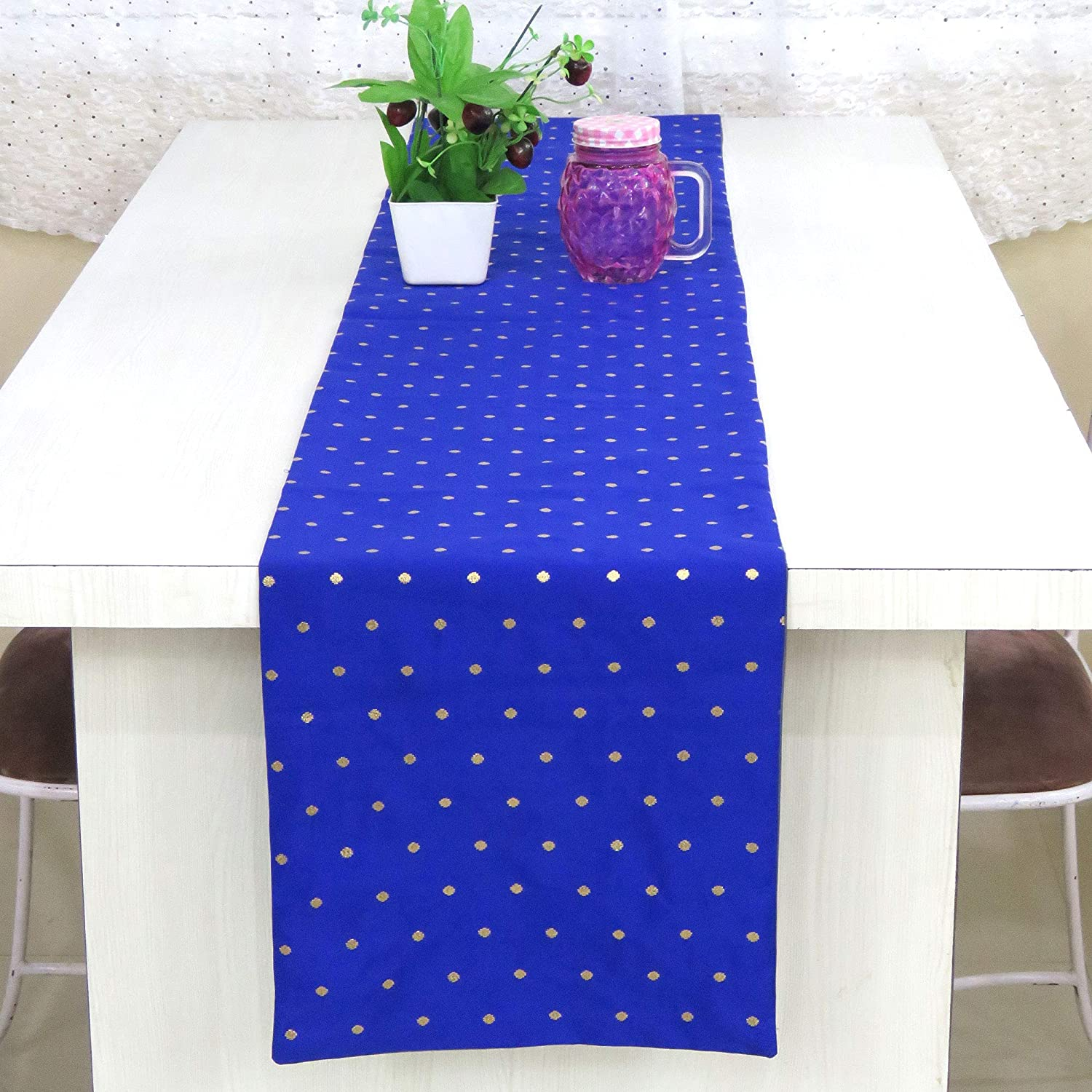 Buy Riara Art Silk Banarsi Brocade Traditional Table Runner for Dining Table  4 & 6 Seater Table Cloth Rectangle Coffee Table Cloth 72x12 Inches (183 x  31 cm) (Royal Blue) Online at