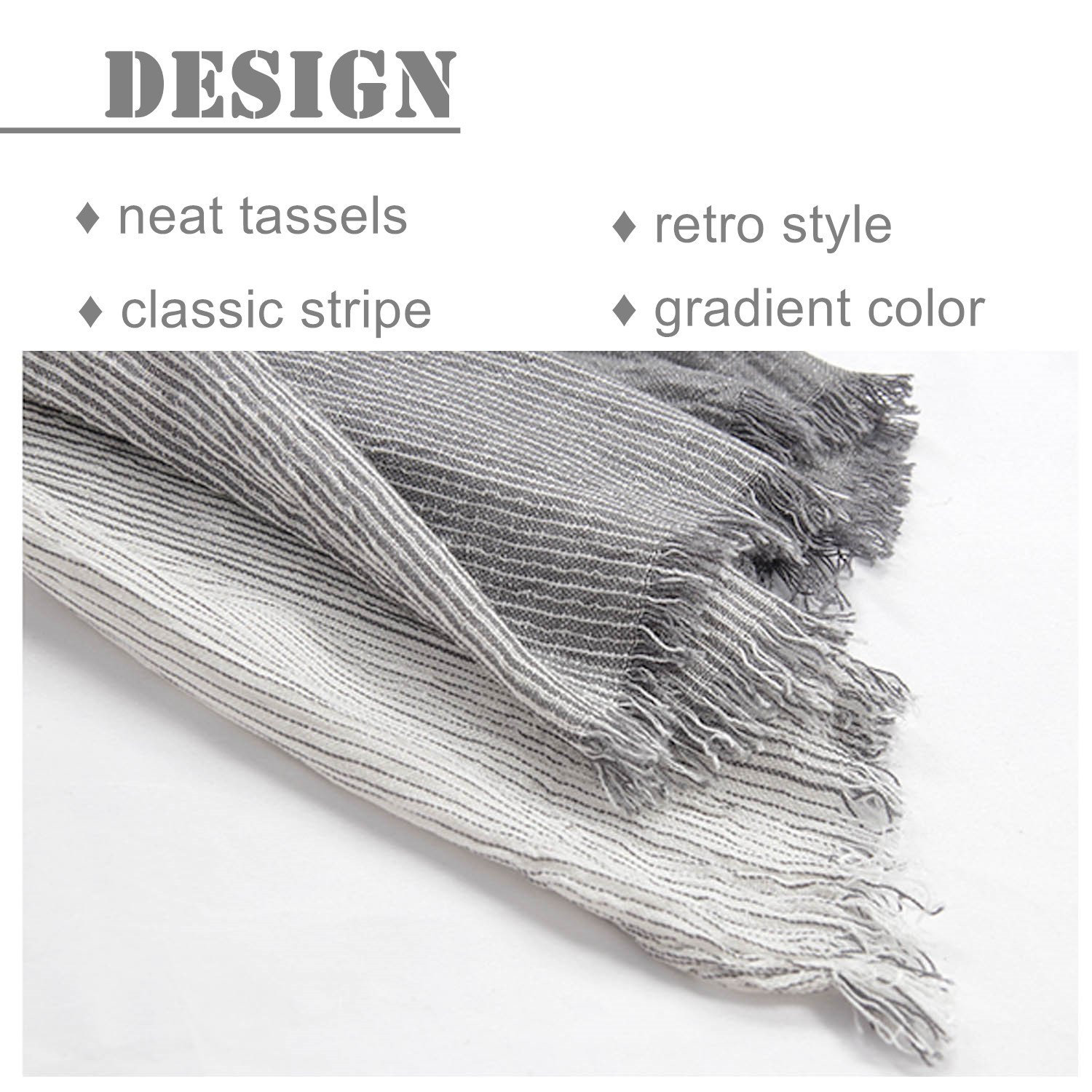 Kalevel Large Scarf Shawl Wrap Cotton Shawls and Wraps with Fringe - Dark Grey by Kalevel (Image #3)