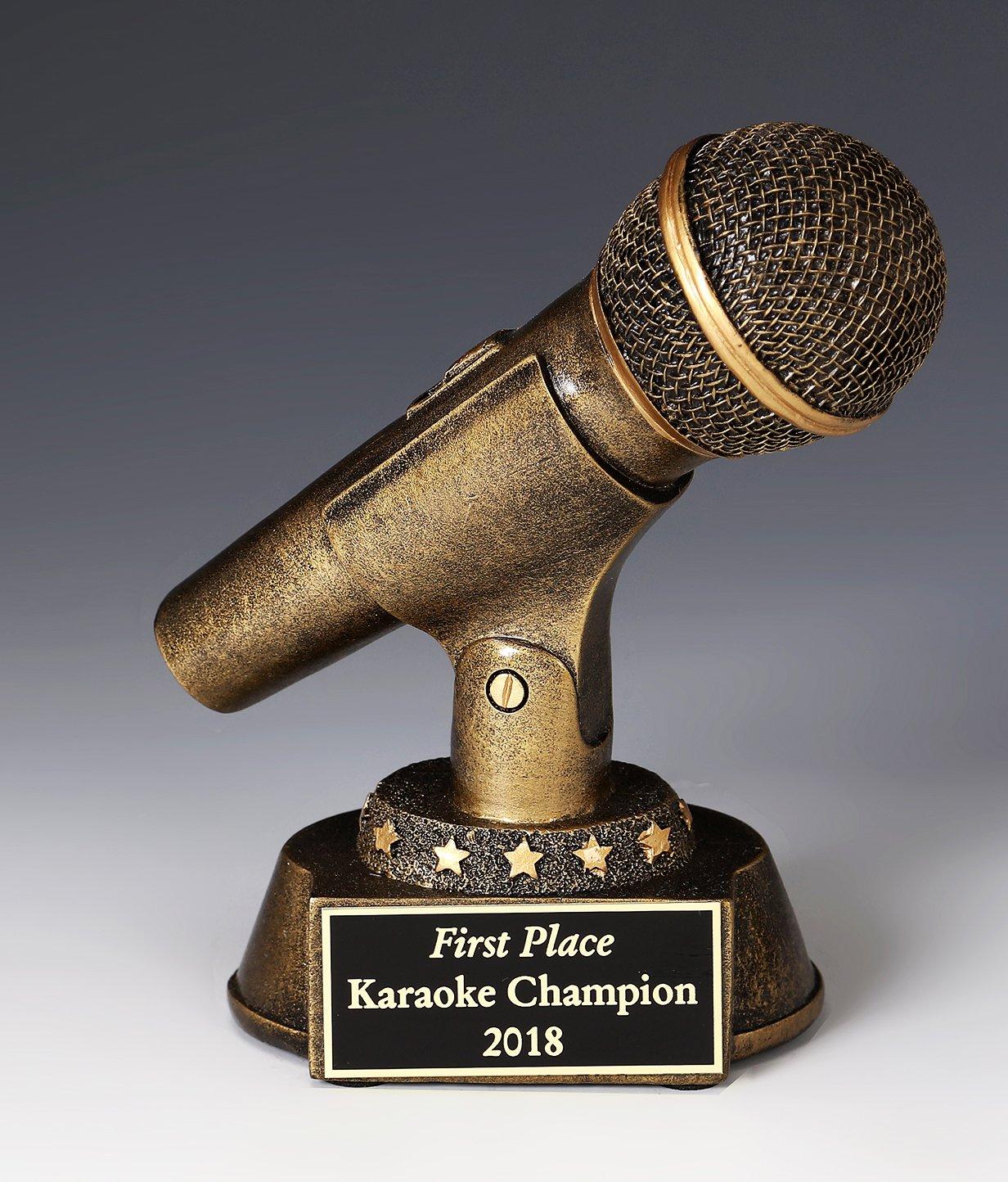 MICROPHONE, The GOLDEN MICROPHONE AWARD, SINGING, BROADCASTING NEWS, ANNOUNCER ETC. GOLDEN Resin Sculpture AWARD 6 1/2'''' TALL