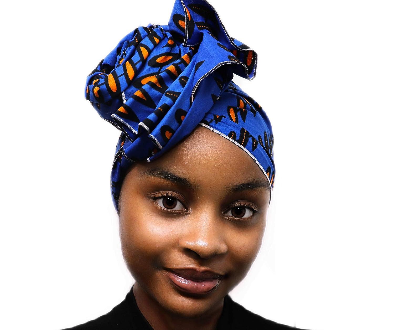 アフリカンヘッドラップヘッドスカーフヘッドバンドヒジャーブターバンアフリカのワックスプリント生地スーパーロング丈 首のスカーフとして身に着けることができる(青、オレンジ)   B07HZ3RSX6