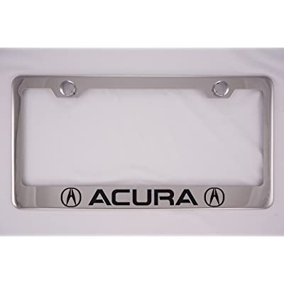 Fit Acura Chrome License Plate Frame with Cap (Stainless Steel): Automotive