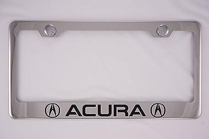 Amazoncom Acura Chrome License Plate Frame With Caps Automotive - Acura license plate frame
