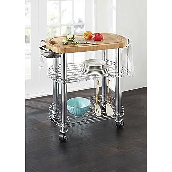 Amazon.com - Member\'s Mark Bamboo Prep Table Kitchen Island ...