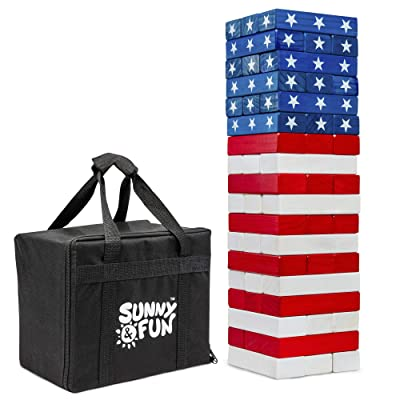 Sunny & Fun Large American Flag Tumbling Tower | 54pc Set Oversized Wooden Toppling Blocks | Indoor/Outdoor Stacking Yard Game for Adults & Kids | Great for Party Lawn Backyard | w/ Storage Carry Bag: Toys & Games