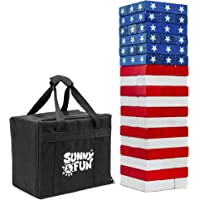 Sunny & Fun Large American Flag Tumbling Tower | 54pc Set Oversized Wooden Toppling Blocks | Indoor/Outdoor Stacking Yard Game for Adults & Kids | Great for Party Lawn Backyard | w/ Storage Carry Bag
