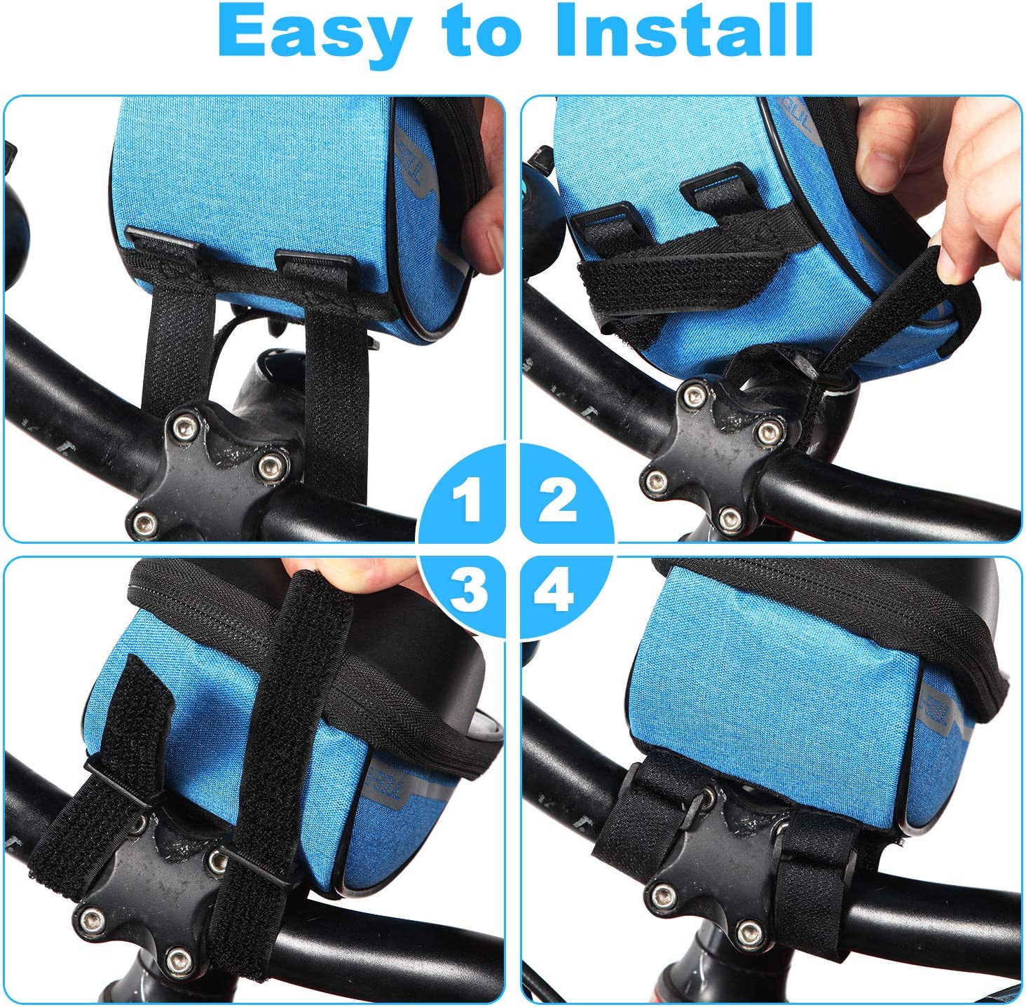 Bike Phone Front Frame Bag Cycling Handlebar Mount Storage Bag with Sun Visor for Phones Below 6.5 Inches Waterproof Touch Screen Bicycle Phone Case Holder