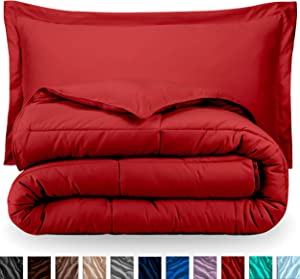 Bare Home Comforter Set - Full/Queen - Goose Down Alternative - Ultra-Soft - Premium 1800 Series - Hypoallergenic - All Season Breathable Warmth (Full/Queen, Red)