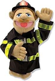 Melissa & Doug Firefighter Puppet with Detachable Wooden Rod (Puppets & Puppet Theaters, Animated Gestures, Inspires Creativ