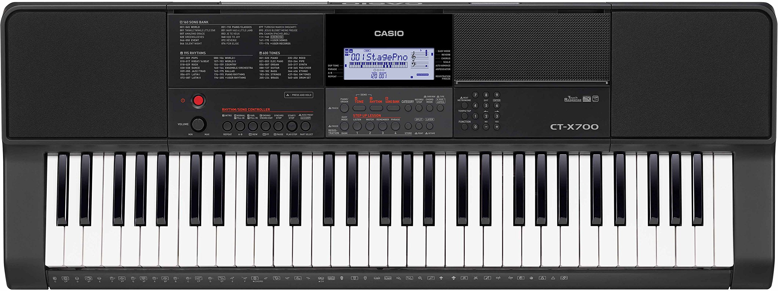 Casio CT-X700 Portable Keyboard Bundle with Stand, Bench, Sustain Pedal, Power Adapter, Austin Bazaar Instructional DVD, and Polishing Cloth by Casio (Image #2)