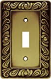 Franklin Brass 64049 Paisley Single Toggle Switch Wall Plate / Switch Plate / Cover, Tumbled Antique Brass