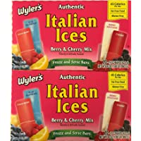 Wylers Authentic Italian Ices Original Flavors (40) 1.5oz pops (2/20ct boxes) ((40) Berry & Cherry)
