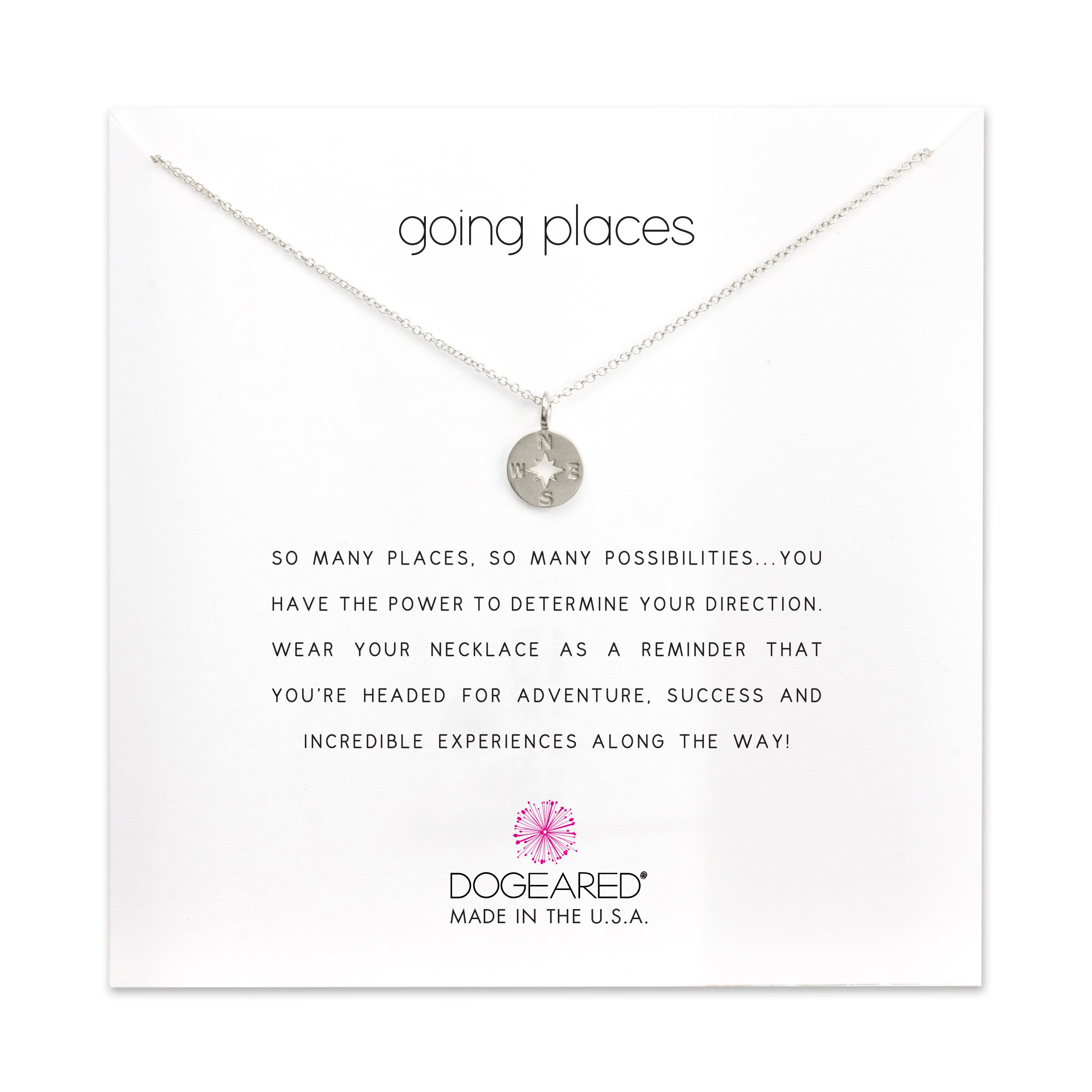 Dogeared Women's Going Places Compass Reminder Necklace Sterling Silver One Size