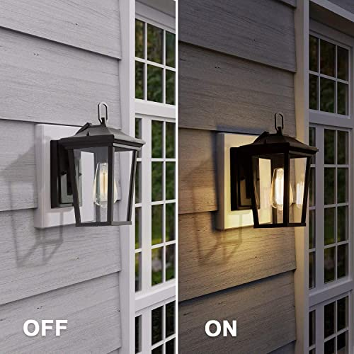 LALUZ Exterior Light Fixtures Farmhouse Wall Mount Lantern Outdoor Sconce with Clear Glass, for Entryway, Yards, Front Porch, Black