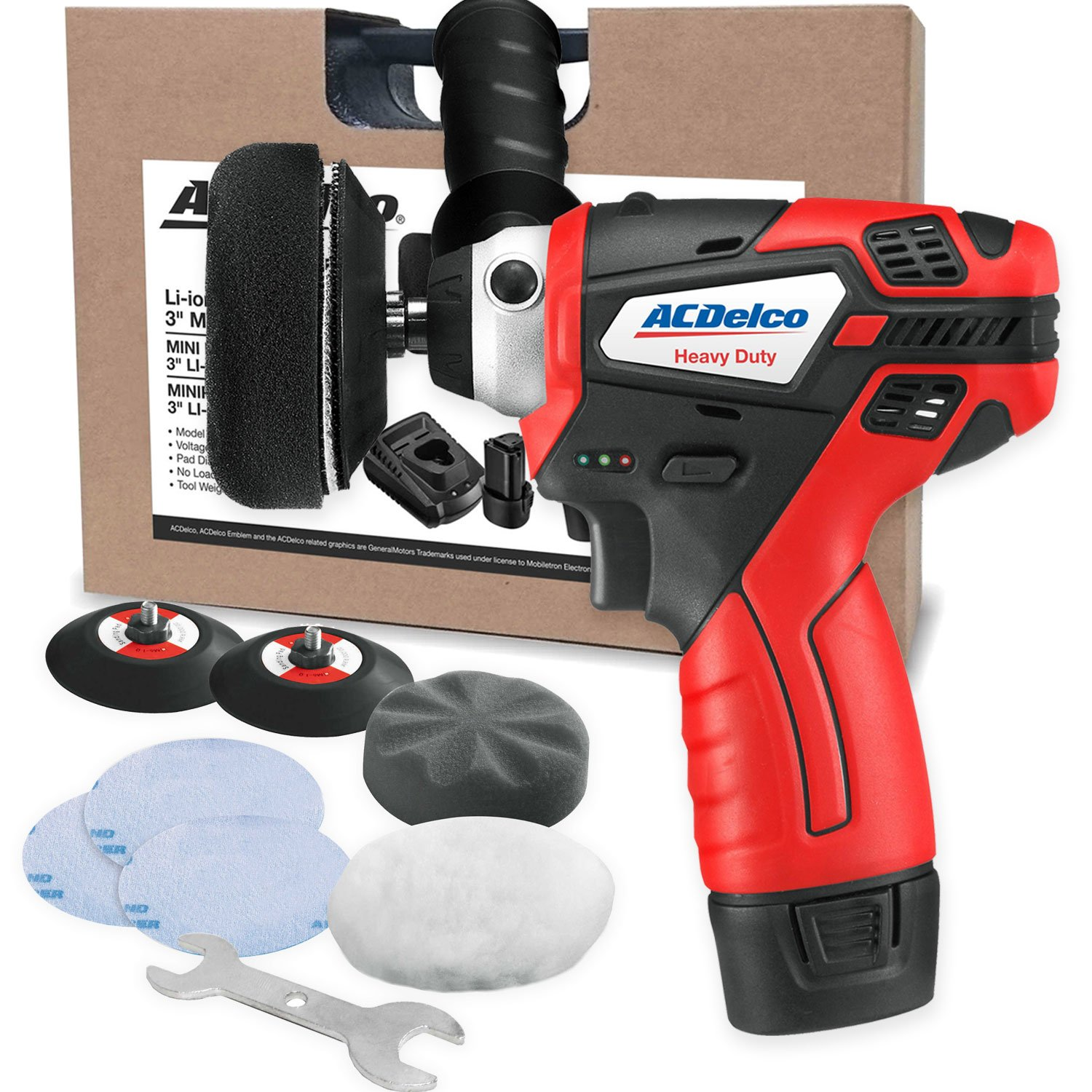 """ACDelco G12 Series 12V Cordless 3"""" Mini Polisher Tool Set with 2 Li-ion Batteries, Charger, and Accessory Kit, ARS1212"""