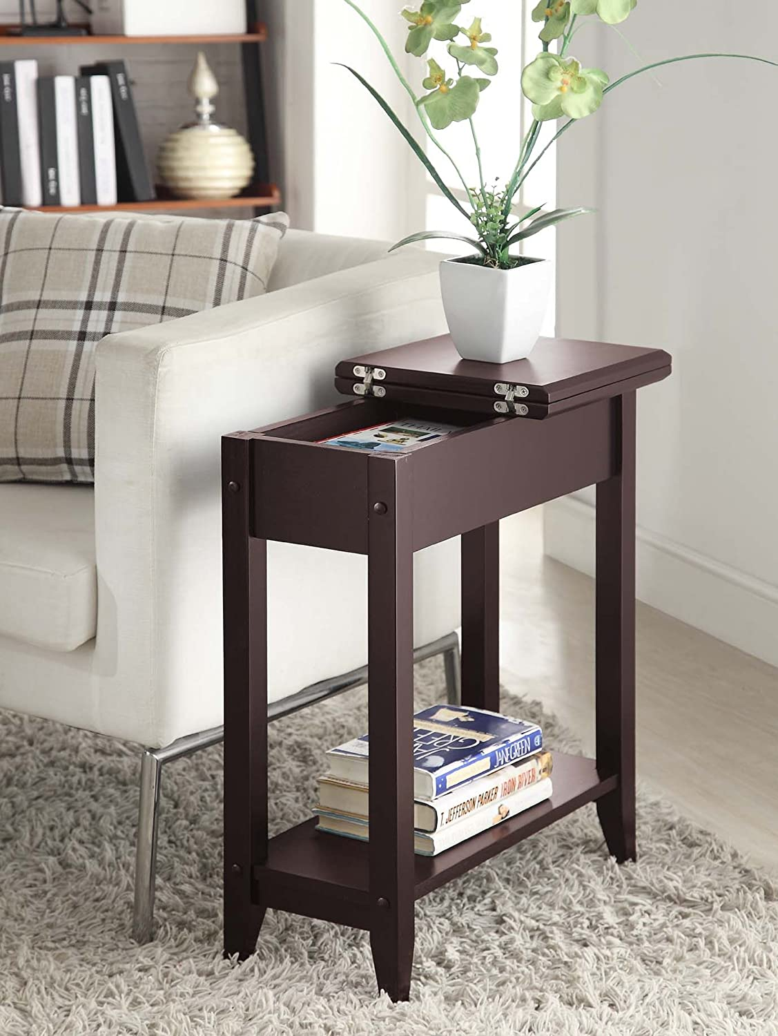 Small end table side accent sofa chair narrow living room - Narrow side tables for living room ...