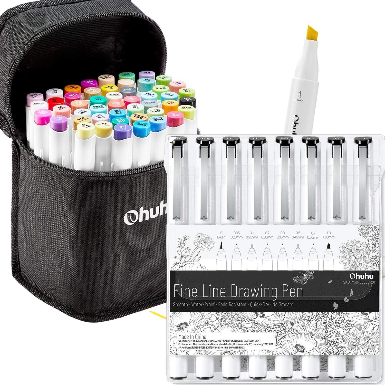 Ohuhu 48 Colors Alcohol Brush Markers (Brush & Chisel, Bonus 1 Colorless Blender) + 8Pack Fineline Pens