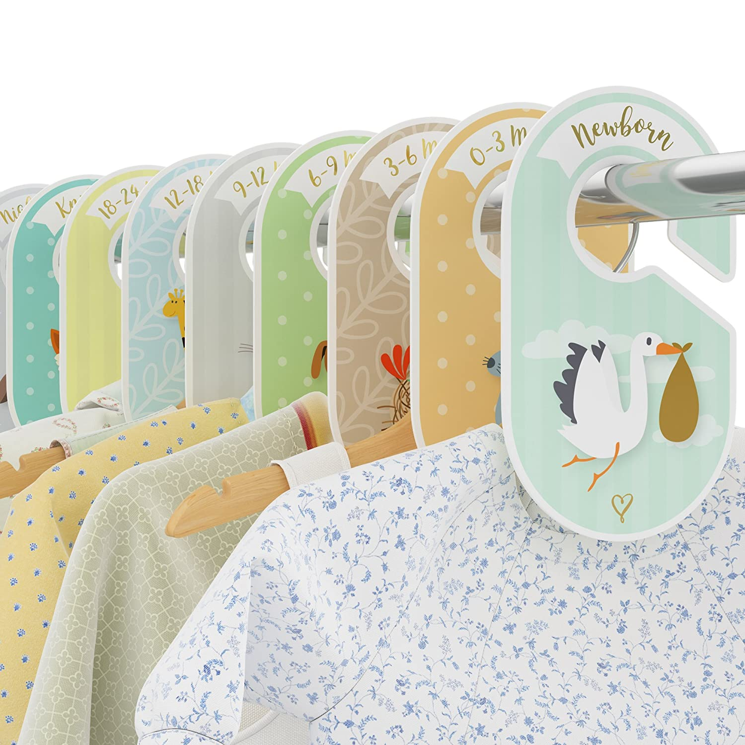 4e80bc4bca918 COZY HEDGEHOG Baby Wardrobe Dividers - 18 closet organisers/hangers -  Arrange clothes by clothing type or age - Perfect set - Unisex  Woodland/Safari / ...