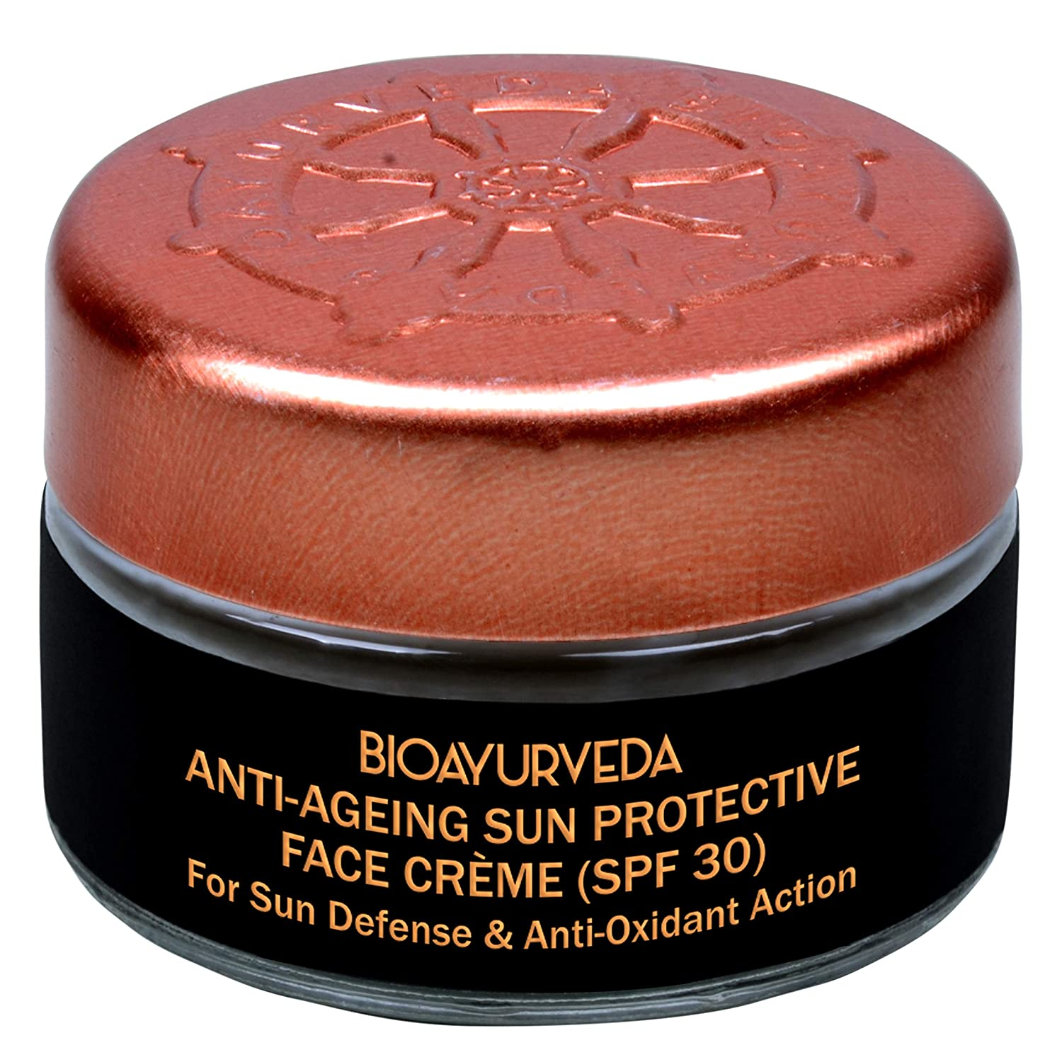 BIOAYURVEDA Sun Protective Face Cream with SPF 30 and Broad Spectrum(UVA/UVB) Protection,Skincare With Organic Ingredients, Facial Sunscreen for Sensitive Skin,Fine Lines,Wrinkles,Dark Spot (0.7 Oz)