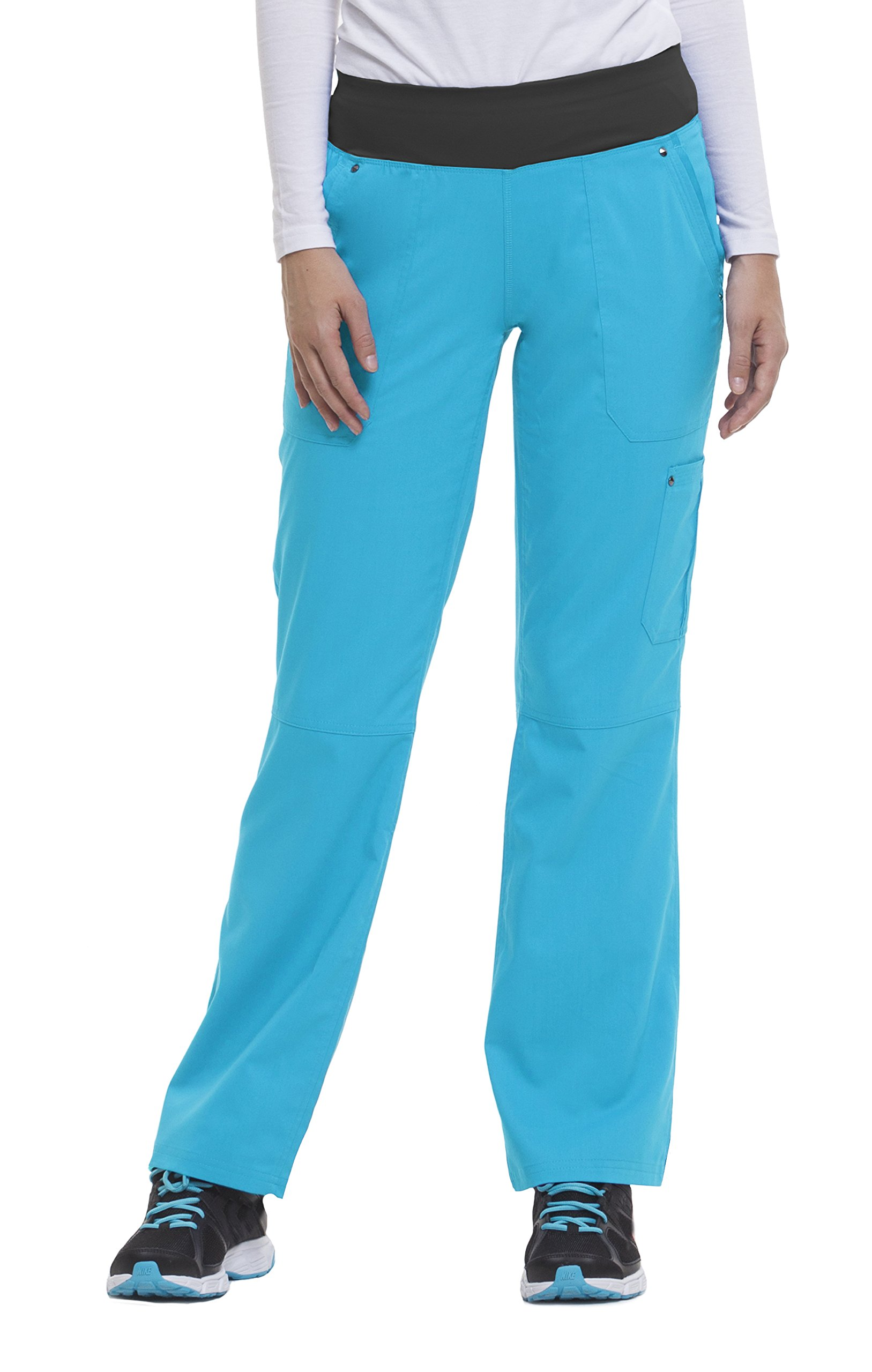 healing hands Purple Label Yoga Women's Tori 9133 5 Pocket Knit Waist Pant Turquoise-XX-Small Petite