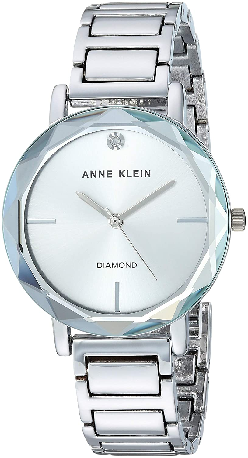 Anne Klein Women s Diamond Dial Bracelet Watch with Faceted Lens