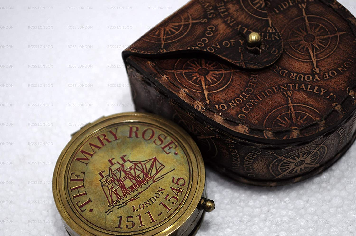 Ideal Gifts. ROSS LONDON Antique Brass The Mary Rose Thread Sundial Compass 1.5 Antique Home D/écor Item