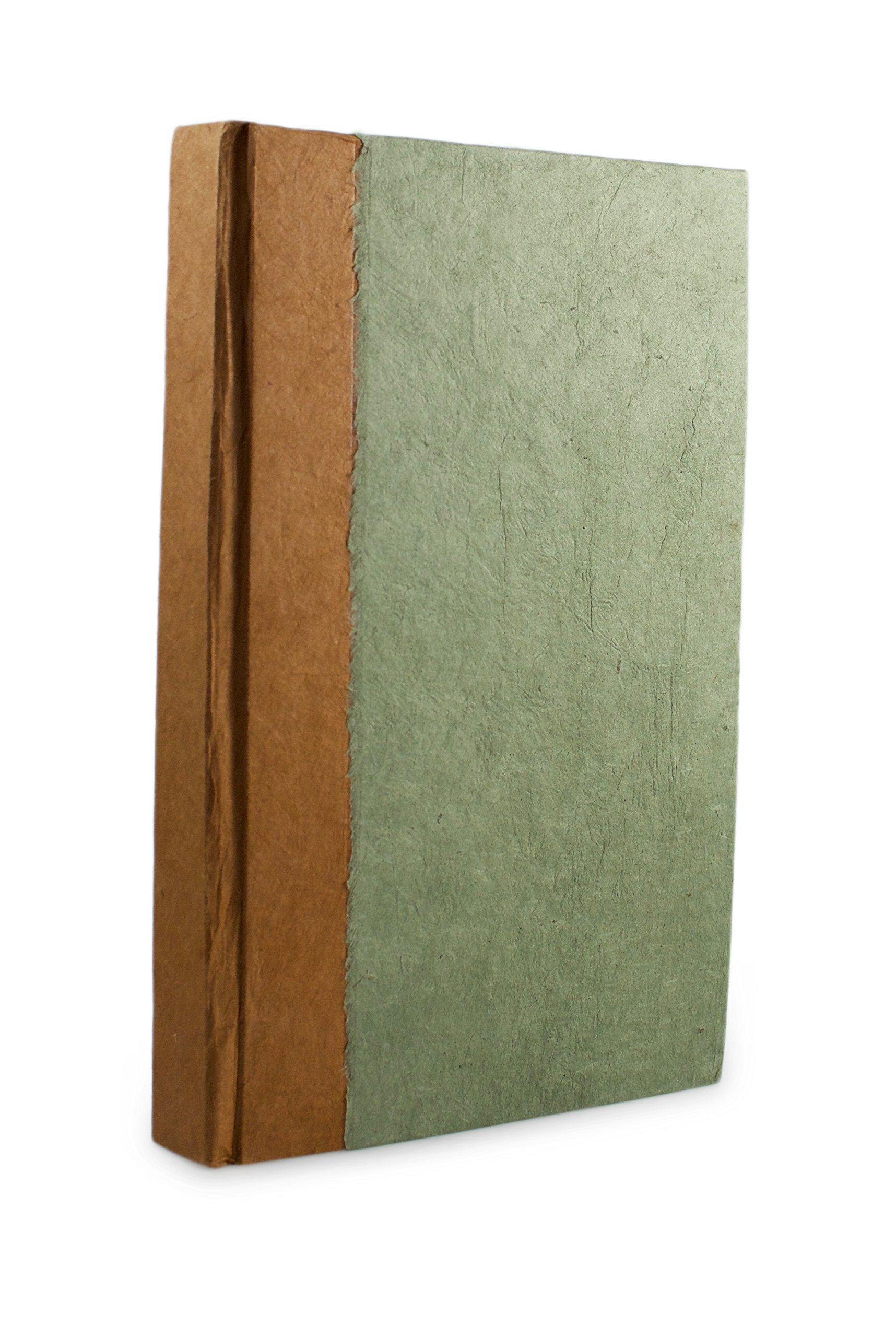 Nepali Namaste Writing & Prayer Journal with Handmade Vintage Lokta Paper & Vegetable-Dyed Hardcover, Made in the Himalayas of Nepal, 6x9 inches, Sage