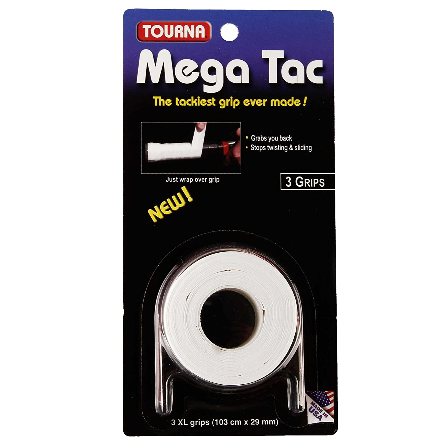 Tourna Mega Tac Extra Tacky Overgrip,3-Pack 3 Grips per Pack White One Size MT-W