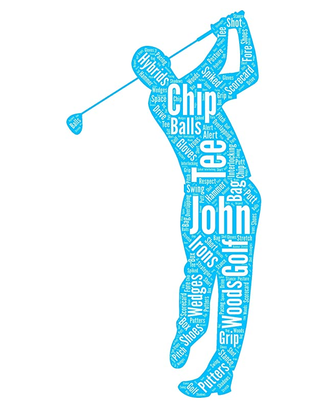 Golf wall art, Personalized Golf Decor, Golfing gifts for him, Birthday Gifts, Word Art Typography Golf lover Golfing Men Custom Print for Wall Decor…