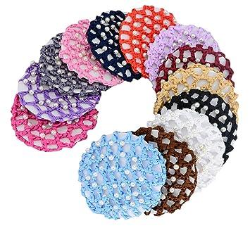 dc4e5366835a Amazon.com   13pcs Women Girl Bun Cover Snood Hair Net Ballet Dance ...