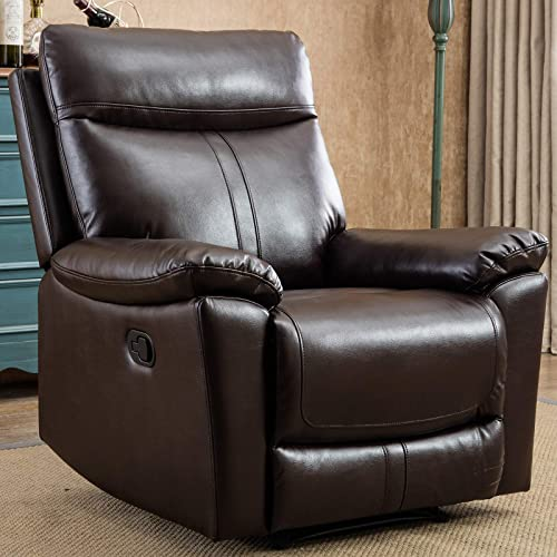 ANJ Leather Recliner Chair Padded Durable Recliner Chair for Living Room Ergonomic Single Seat Reclining Sofa – Brown