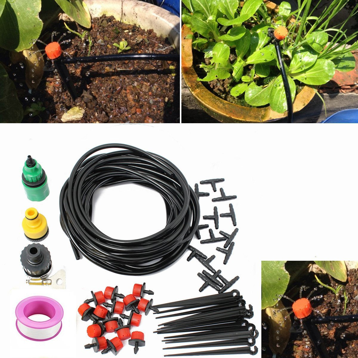 25m / 82ft Planta de jardinería Micro Sistema de riego por goteo Patio Atomización Micro Rociador Enfriamiento Kit: Amazon.es: Jardín