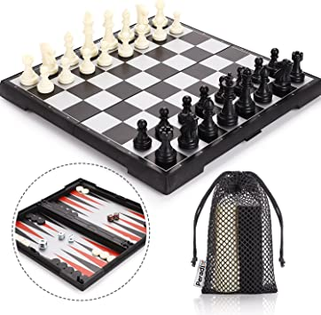 Comprar juego de mesa: Peradix Tablero Ajedrez Magnetico, 3 EN 1 Ajedrez y Damas Backgammon en Estuche con Portátil de Tablero Plegable para niños y Adultos Juego de Ajedrez 32.6*32.6cm