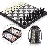 Peradix Tablero Ajedrez Magnetico, 3 EN 1 Ajedrez y Damas Backgammon en Estuche con Portátil de Tablero Plegable para…